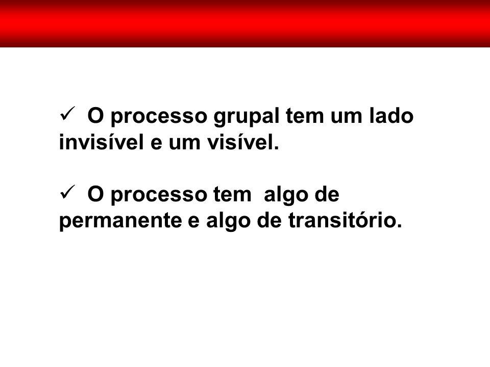  O processo grupal tem um lado invisível e um visível.  O processo tem algo de permanente e algo de transitório.