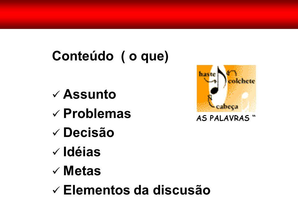 """Conteúdo ( o que)  Assunto  Problemas  Decisão  Idéias  Metas  Elementos da discusão AS PALAVRAS """""""