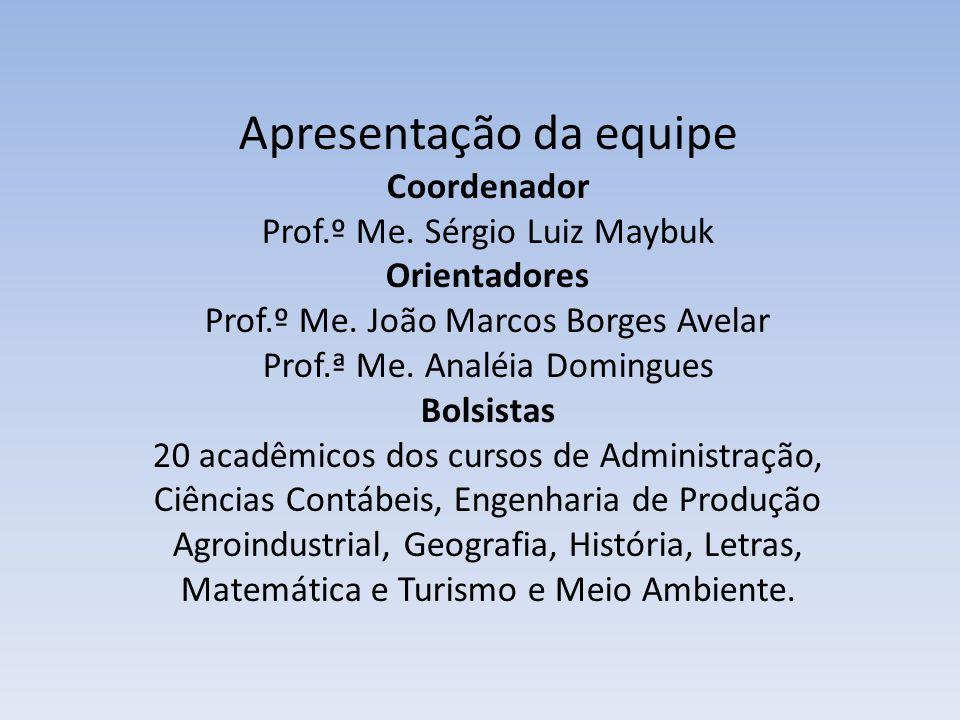 Apresentação da equipe Coordenador Prof.º Me. Sérgio Luiz Maybuk Orientadores Prof.º Me.
