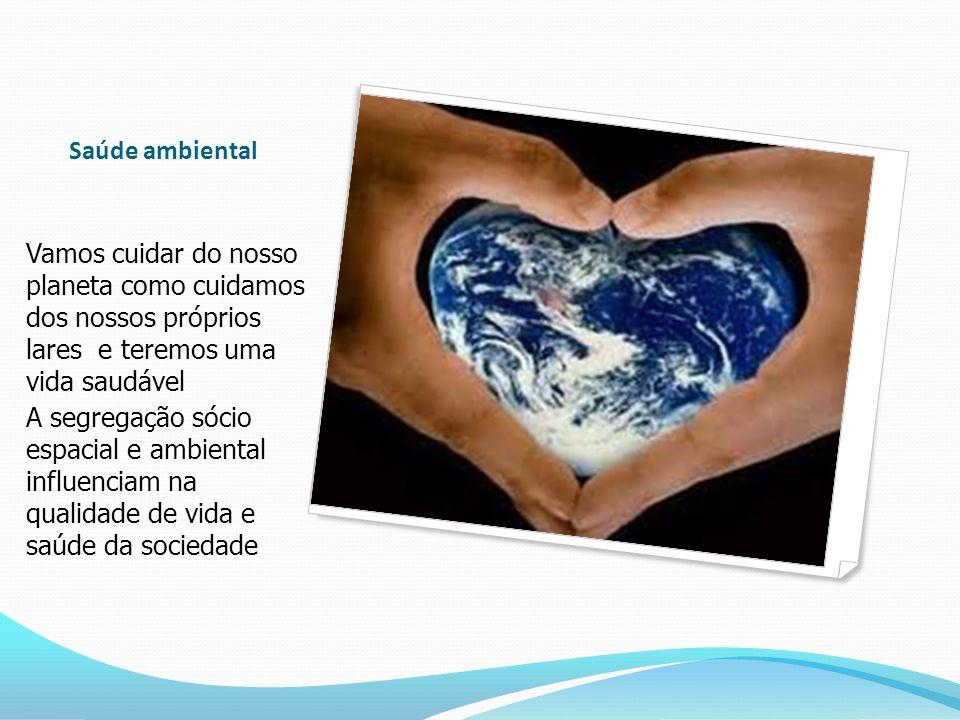 Saúde ambiental Vamos cuidar do nosso planeta como cuidamos dos nossos próprios lares e teremos uma vida saudável A segregação sócio espacial e ambiental influenciam na qualidade de vida e saúde da sociedade