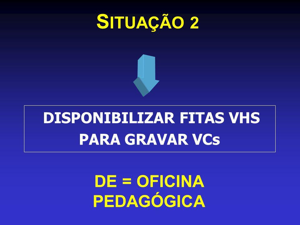 S ITUAÇÃO 2 DE = OFICINA PEDAGÓGICA DISPONIBILIZAR FITAS VHS PARA GRAVAR VCs