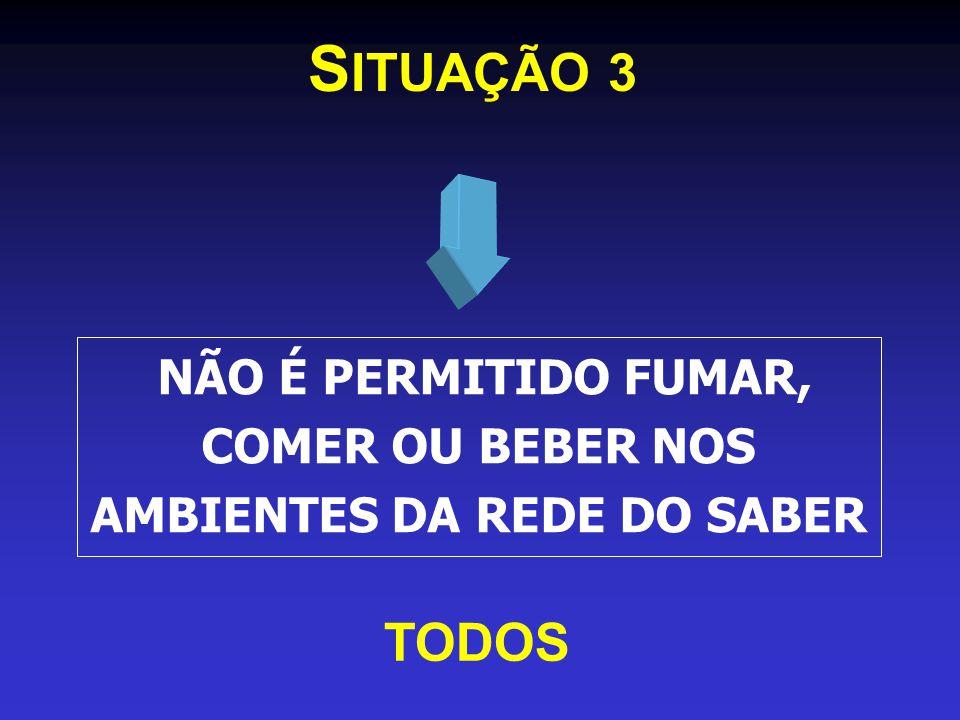S ITUAÇÃO 3 NÃO É PERMITIDO FUMAR, COMER OU BEBER NOS AMBIENTES DA REDE DO SABER TODOS