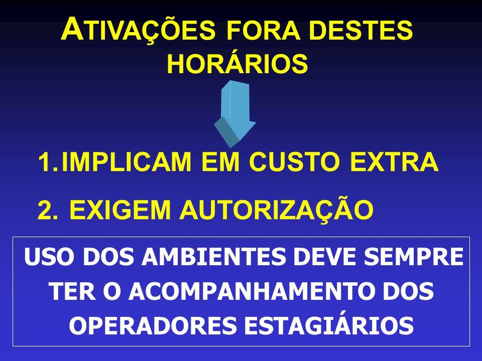 A TIVAÇÕES FORA DESTES HORÁRIOS 1.IMPLICAM EM CUSTO EXTRA 2.