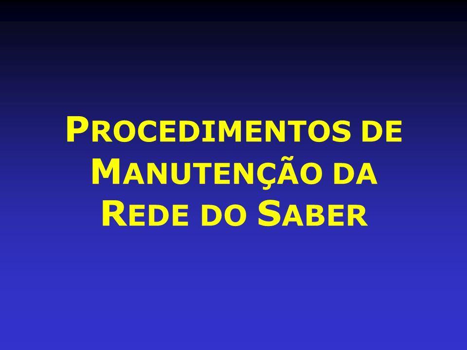 P ROCEDIMENTOS DE M ANUTENÇÃO DA R EDE DO S ABER