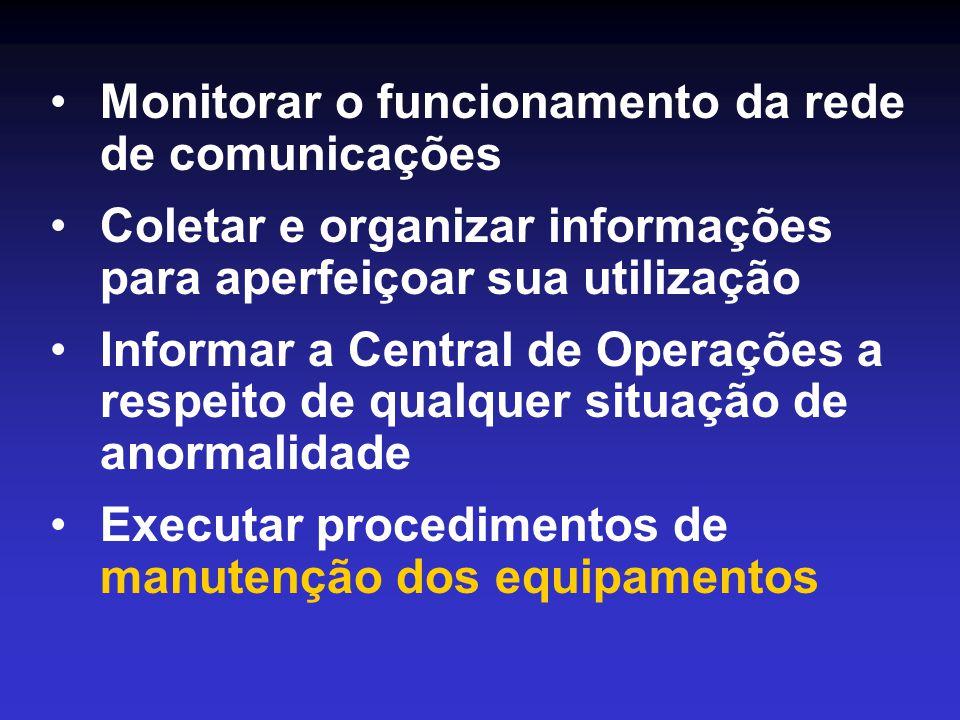 •Monitorar o funcionamento da rede de comunicações •Coletar e organizar informações para aperfeiçoar sua utilização •Informar a Central de Operações a respeito de qualquer situação de anormalidade •Executar procedimentos de manutenção dos equipamentos
