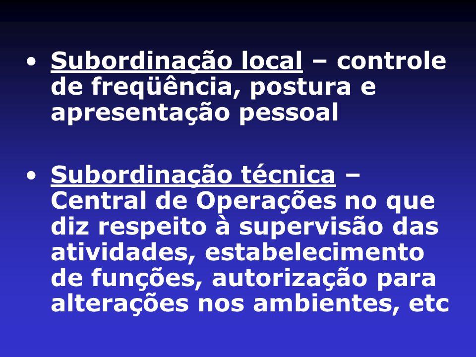 •Subordinação local – controle de freqüência, postura e apresentação pessoal •Subordinação técnica – Central de Operações no que diz respeito à supervisão das atividades, estabelecimento de funções, autorização para alterações nos ambientes, etc