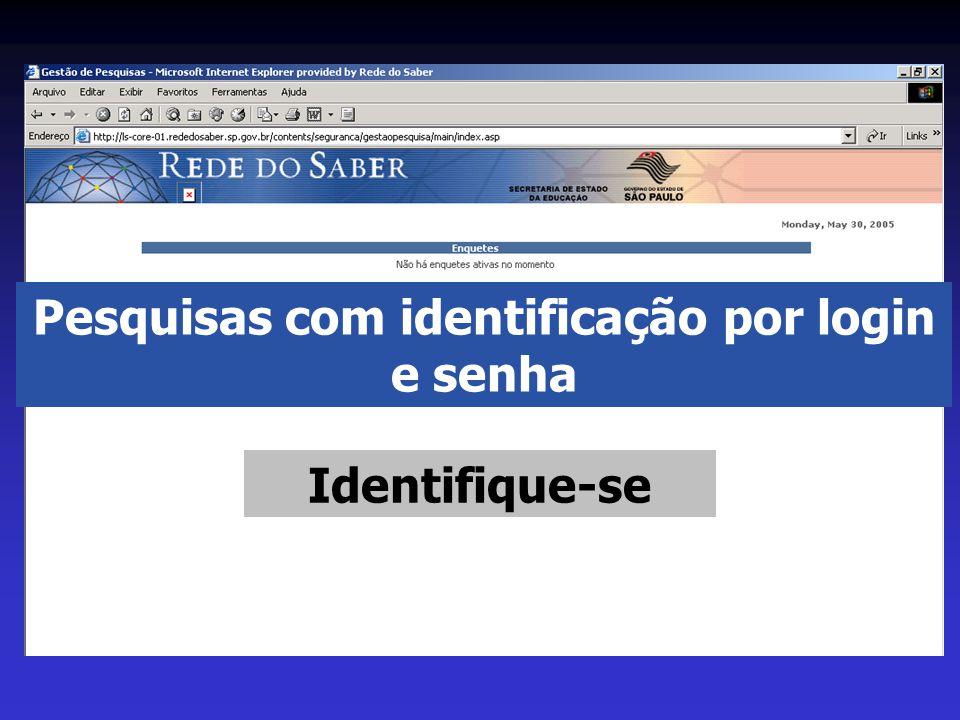 Pesquisas com identificação por login e senha Identifique-se