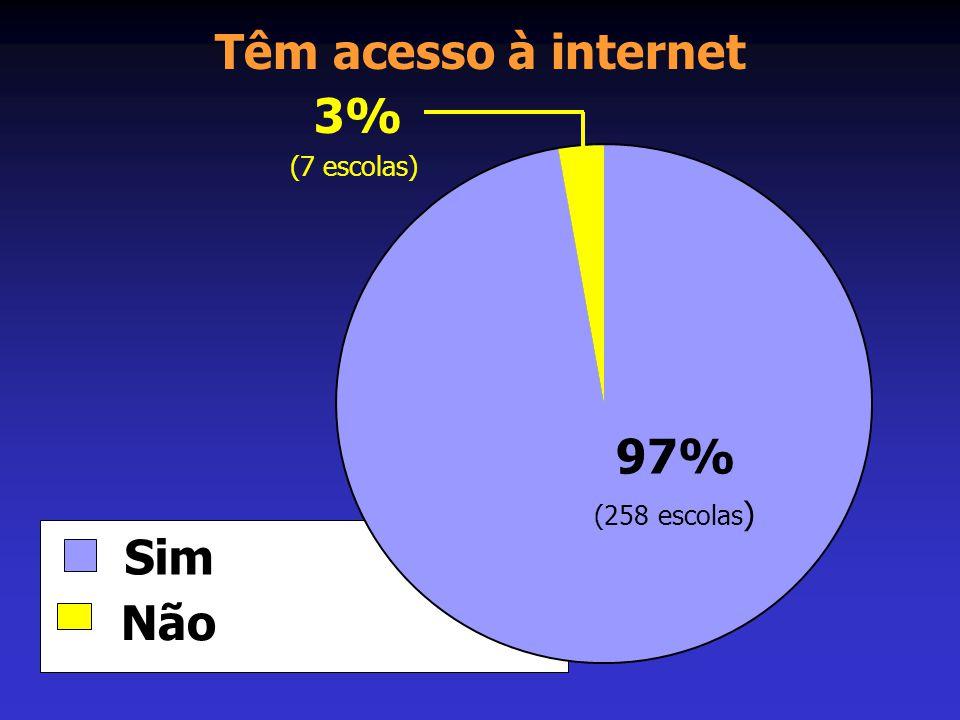Têm acesso à internet Sim Não 97% 3% (258 escolas ) (7 escolas)