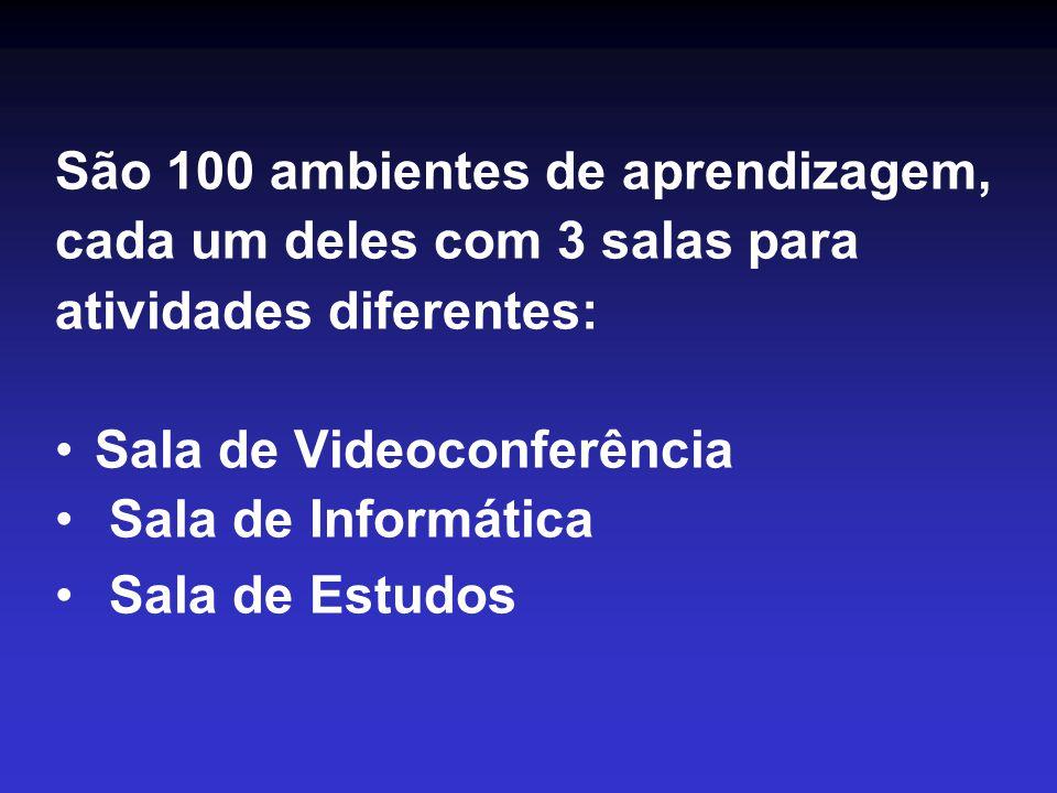 São 100 ambientes de aprendizagem, cada um deles com 3 salas para atividades diferentes: •Sala de Videoconferência • Sala de Informática • Sala de Estudos