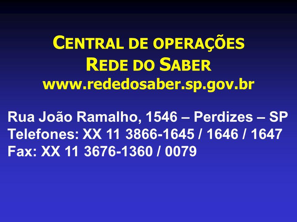 C ENTRAL DE OPERAÇÕES R EDE DO S ABER www.rededosaber.sp.gov.br Rua João Ramalho, 1546 – Perdizes – SP Telefones: XX 11 3866-1645 / 1646 / 1647 Fax: XX 11 3676-1360 / 0079