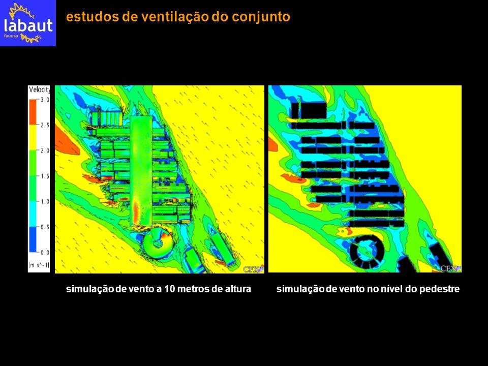 simulação de vento a 10 metros de alturasimulação de vento no nível do pedestre estudos de ventilação do conjunto