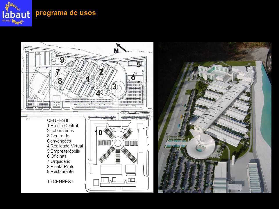 CENPES II: 1 Prédio Central 2 Laboratórios 3 Centro de Convenções 4 Realidade Virtual 5 Empreiterópolis 6 Oficinas 7 Orquidário 8 Planta Piloto 9 Rest