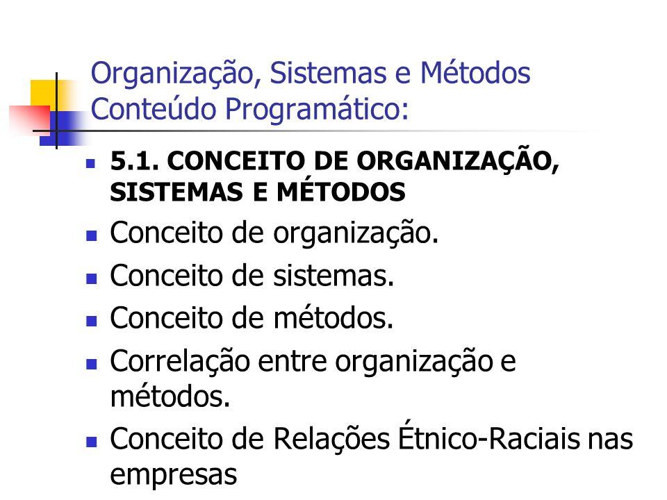  5.1. CONCEITO DE ORGANIZAÇÃO, SISTEMAS E MÉTODOS  Conceito de organização.  Conceito de sistemas.  Conceito de métodos.  Correlação entre organi