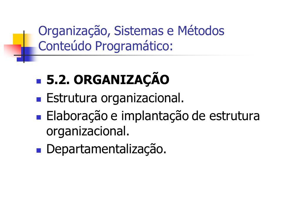  5.2. ORGANIZAÇÃO  Estrutura organizacional.  Elaboração e implantação de estrutura organizacional.  Departamentalização. Organização, Sistemas e