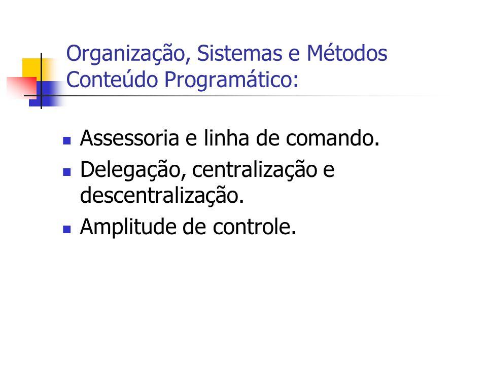  Assessoria e linha de comando.  Delegação, centralização e descentralização.  Amplitude de controle. Organização, Sistemas e Métodos Conteúdo Prog