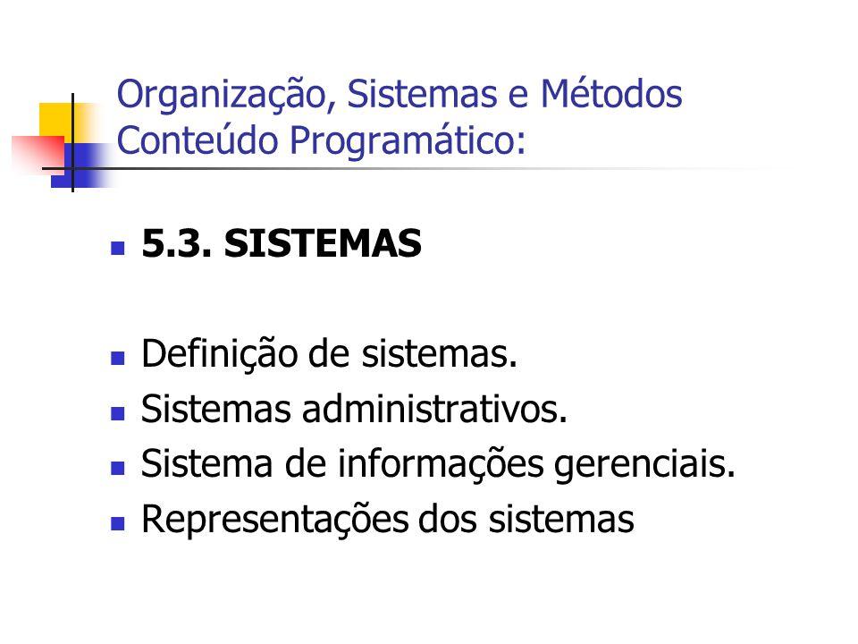  5.3. SISTEMAS  Definição de sistemas.  Sistemas administrativos.  Sistema de informações gerenciais.  Representações dos sistemas Organização, S