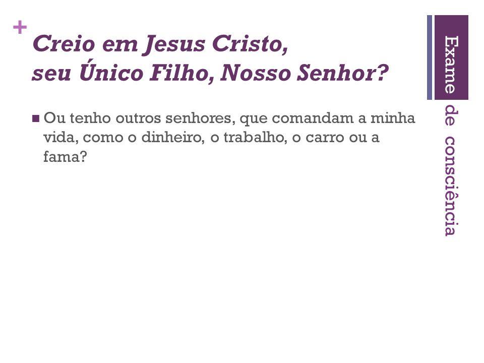 + Creio em Jesus Cristo, seu Único Filho, Nosso Senhor?  Ou tenho outros senhores, que comandam a minha vida, como o dinheiro, o trabalho, o carro ou