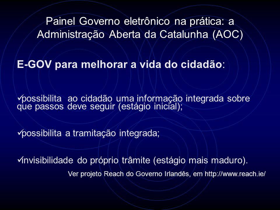 Painel Governo eletrônico na prática: a Administração Aberta da Catalunha (AOC) E-GOV para melhorar a vida do cidadão:  possibilita ao cidadão uma in