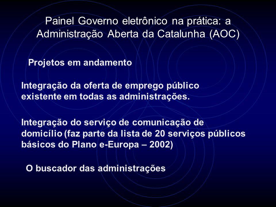 Painel Governo eletrônico na prática: a Administração Aberta da Catalunha (AOC) Projetos em andamento Integração da oferta de emprego público existente em todas as administrações.