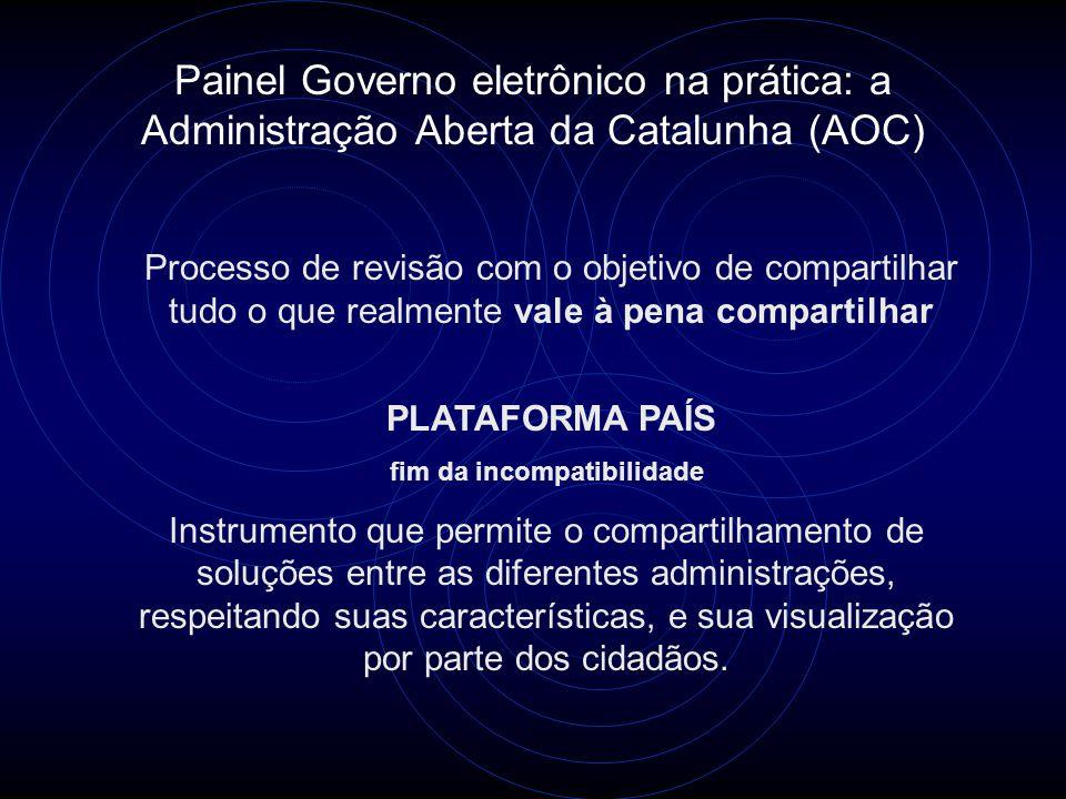 Painel Governo eletrônico na prática: a Administração Aberta da Catalunha (AOC) Processo de revisão com o objetivo de compartilhar tudo o que realment