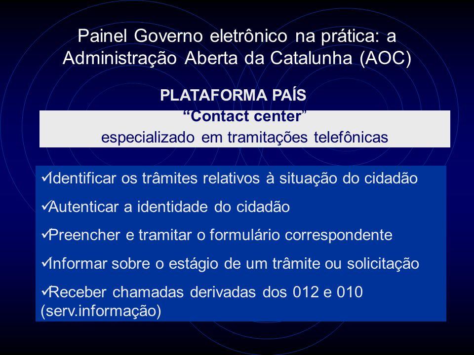"""Painel Governo eletrônico na prática: a Administração Aberta da Catalunha (AOC) PLATAFORMA PAÍS """"Contact center"""" especializado em tramitações telefôni"""