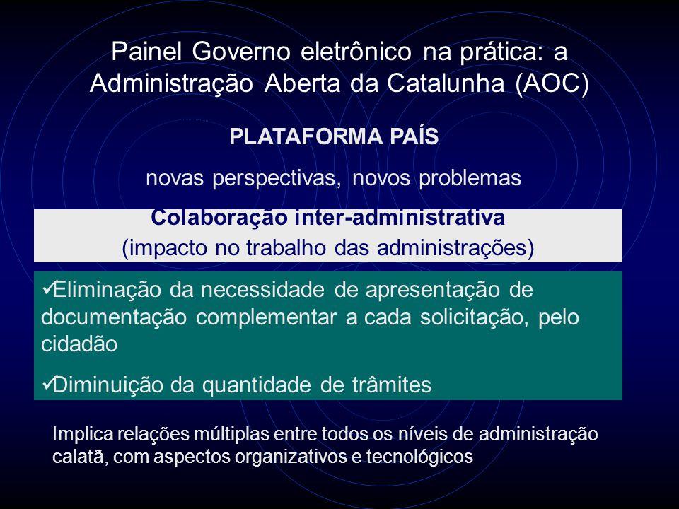Painel Governo eletrônico na prática: a Administração Aberta da Catalunha (AOC) PLATAFORMA PAÍS novas perspectivas, novos problemas Colaboração inter-