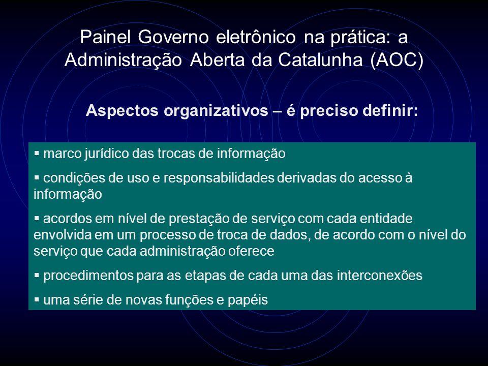 Painel Governo eletrônico na prática: a Administração Aberta da Catalunha (AOC) Aspectos organizativos – é preciso definir:  marco jurídico das troca