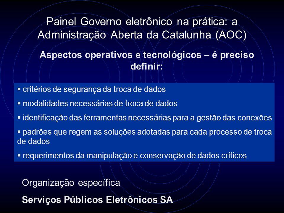 Painel Governo eletrônico na prática: a Administração Aberta da Catalunha (AOC) Aspectos operativos e tecnológicos – é preciso definir:  critérios de