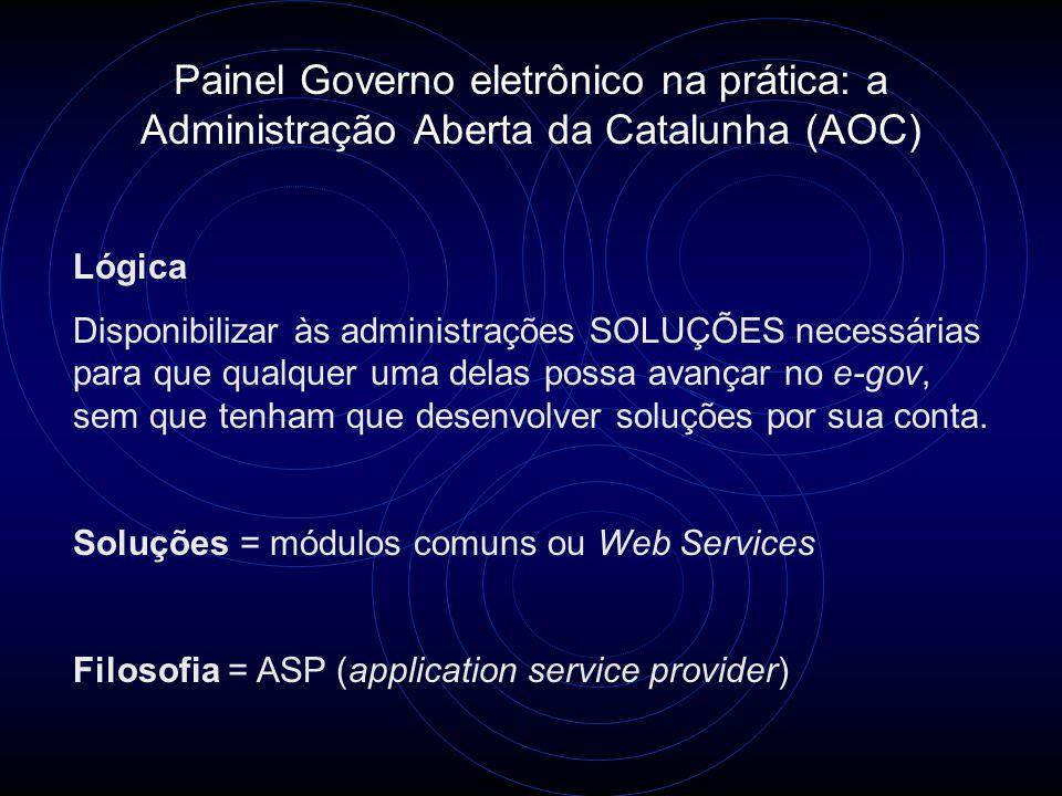 Painel Governo eletrônico na prática: a Administração Aberta da Catalunha (AOC) Lógica Disponibilizar às administrações SOLUÇÕES necessárias para que qualquer uma delas possa avançar no e-gov, sem que tenham que desenvolver soluções por sua conta.