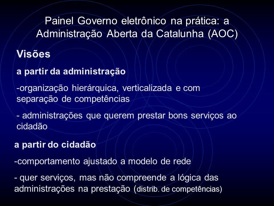 Painel Governo eletrônico na prática: a Administração Aberta da Catalunha (AOC) Visões a partir da administração -organização hierárquica, verticaliza
