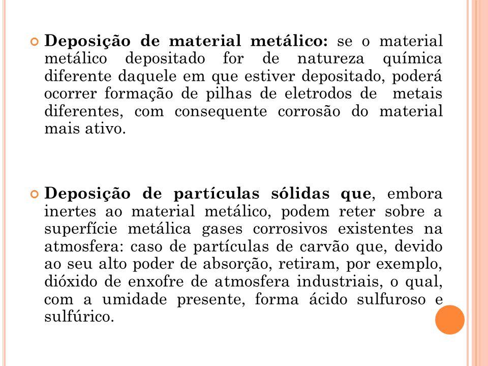Deposição de material metálico: se o material metálico depositado for de natureza química diferente daquele em que estiver depositado, poderá ocorrer formação de pilhas de eletrodos de metais diferentes, com consequente corrosão do material mais ativo.