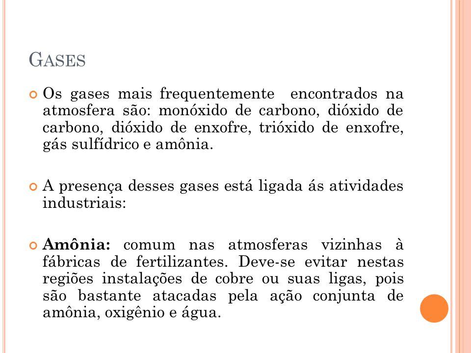 G ASES Os gases mais frequentemente encontrados na atmosfera são: monóxido de carbono, dióxido de carbono, dióxido de enxofre, trióxido de enxofre, gás sulfídrico e amônia.
