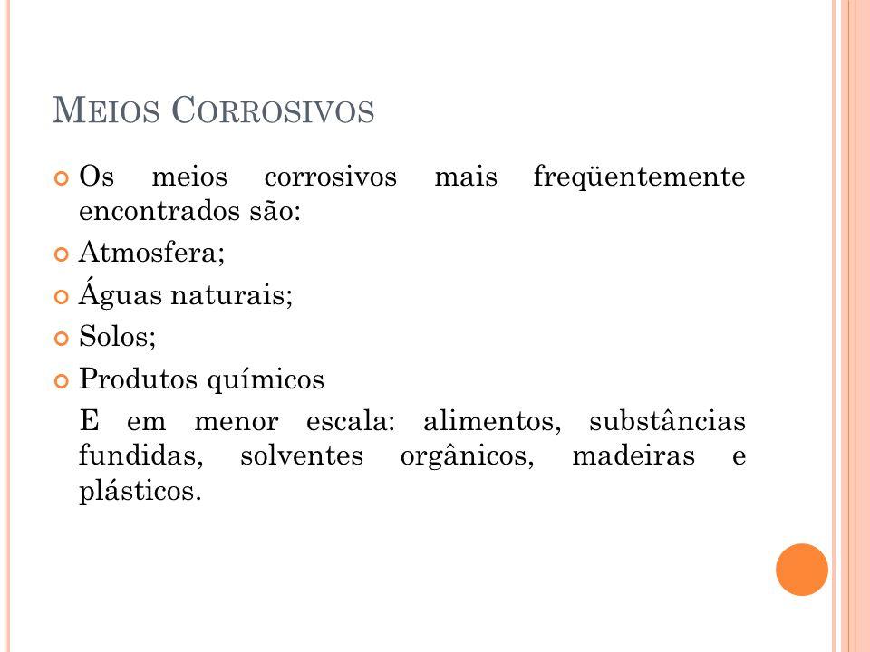 M EIOS C ORROSIVOS Os meios corrosivos mais freqüentemente encontrados são: Atmosfera; Águas naturais; Solos; Produtos químicos E em menor escala: ali