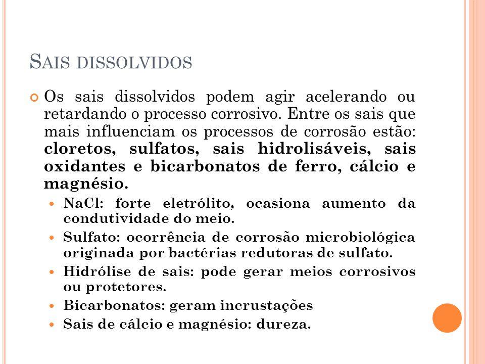 S AIS DISSOLVIDOS Os sais dissolvidos podem agir acelerando ou retardando o processo corrosivo.