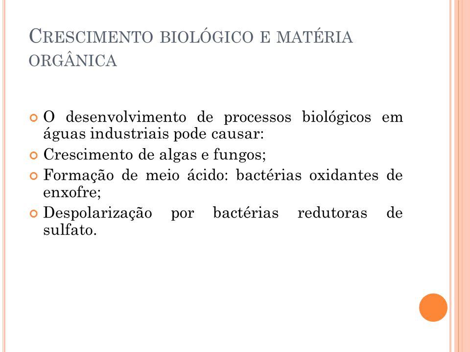 C RESCIMENTO BIOLÓGICO E MATÉRIA ORGÂNICA O desenvolvimento de processos biológicos em águas industriais pode causar: Crescimento de algas e fungos; Formação de meio ácido: bactérias oxidantes de enxofre; Despolarização por bactérias redutoras de sulfato.