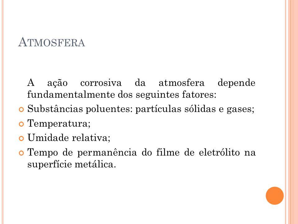 A TMOSFERA A ação corrosiva da atmosfera depende fundamentalmente dos seguintes fatores: Substâncias poluentes: partículas sólidas e gases; Temperatur