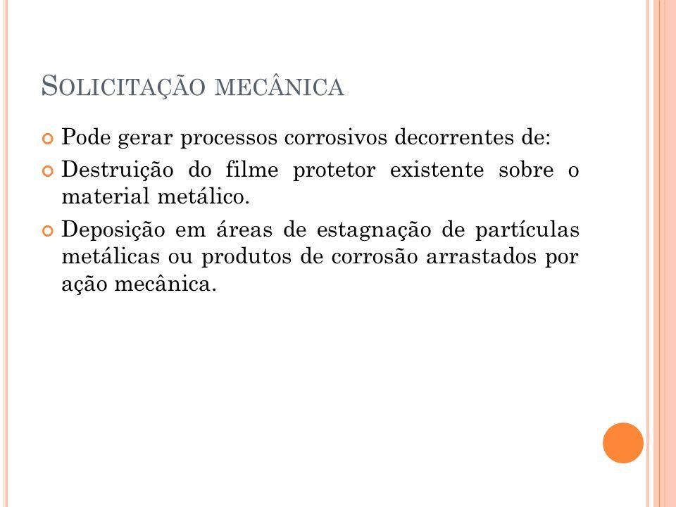 S OLICITAÇÃO MECÂNICA Pode gerar processos corrosivos decorrentes de: Destruição do filme protetor existente sobre o material metálico. Deposição em á