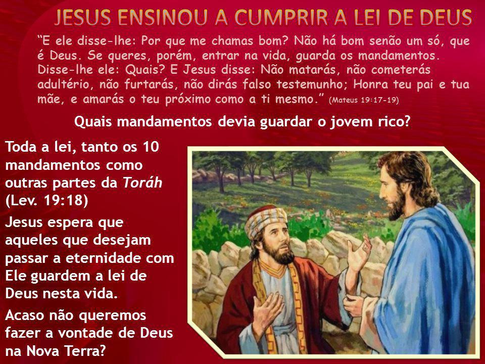 """""""E ele disse-lhe: Por que me chamas bom? Não há bom senão um só, que é Deus. Se queres, porém, entrar na vida, guarda os mandamentos. Disse-lhe ele: Q"""