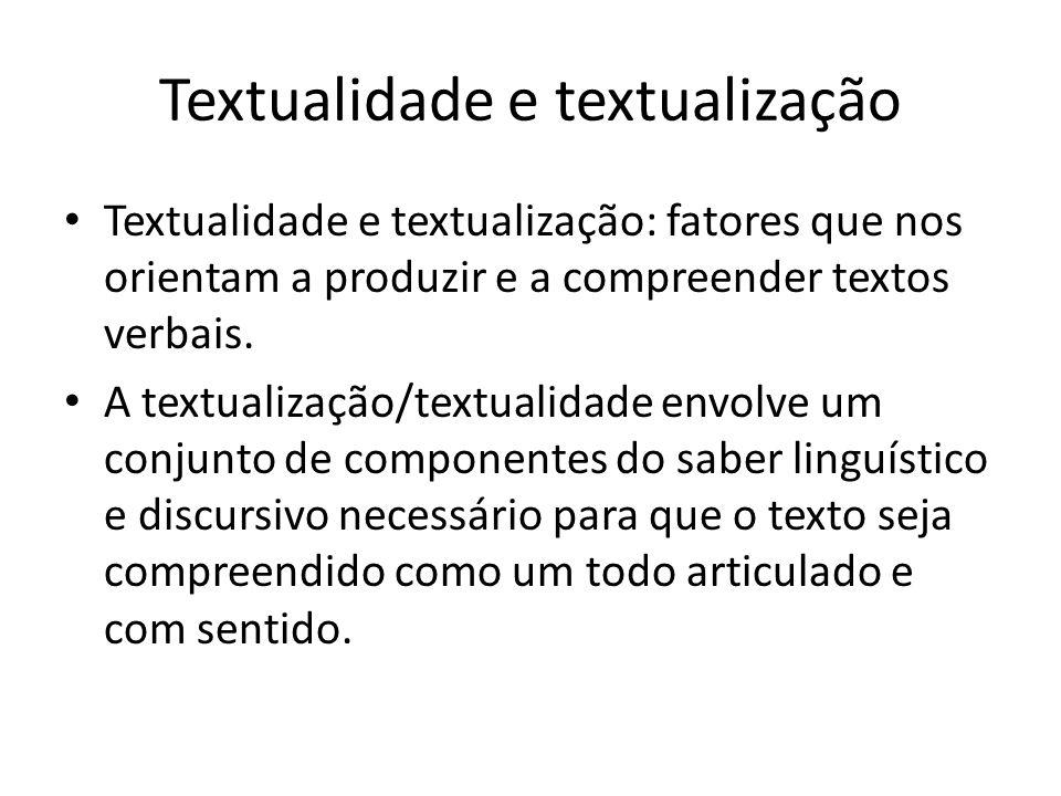 • Textualidade e textualização: fatores que nos orientam a produzir e a compreender textos verbais. • A textualização/textualidade envolve um conjunto