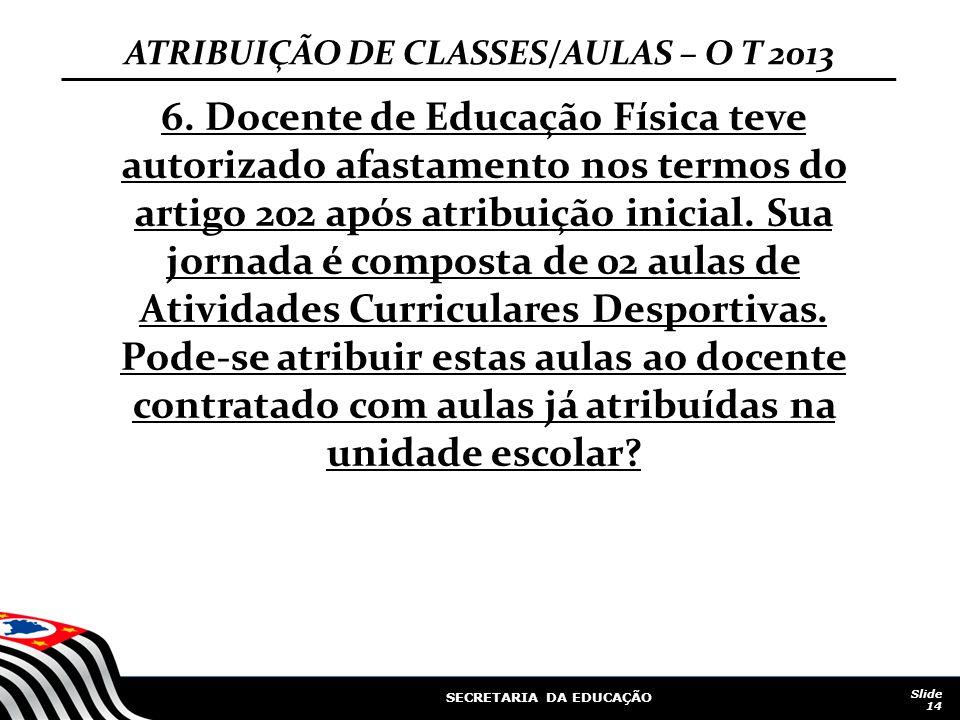 SECRETARIA DA EDUCAÇÃO Slide 14 ATRIBUIÇÃO DE CLASSES/AULAS – O T 2013 6. Docente de Educação Física teve autorizado afastamento nos termos do artigo