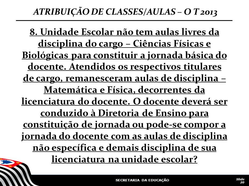 SECRETARIA DA EDUCAÇÃO Slide 20 ATRIBUIÇÃO DE CLASSES/AULAS – O T 2013 8. Unidade Escolar não tem aulas livres da disciplina do cargo – Ciências Físic