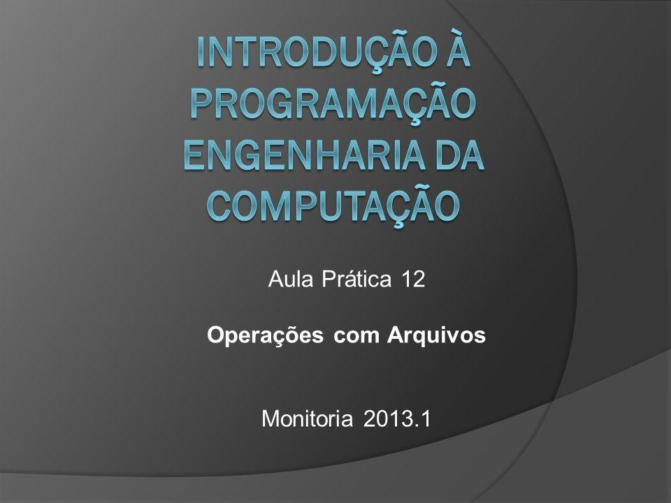 Aula Prática 12 Operações com Arquivos Monitoria 2013.1