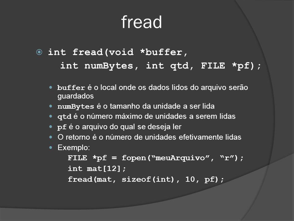 fread  int fread(void *buffer, int numBytes, int qtd, FILE *pf);  buffer é o local onde os dados lidos do arquivo serão guardados  numBytes é o tamanho da unidade a ser lida  qtd é o número máximo de unidades a serem lidas  pf é o arquivo do qual se deseja ler  O retorno é o número de unidades efetivamente lidas  Exemplo: FILE *pf = fopen( meuArquivo , r ); int mat[12]; fread(mat, sizeof(int), 10, pf);