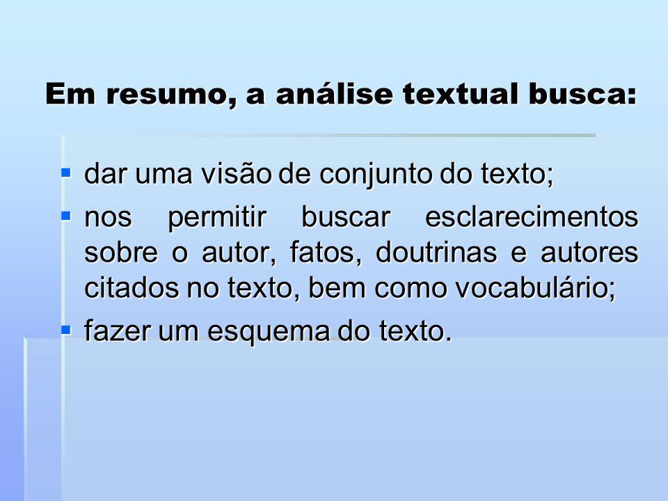 Em resumo, a análise textual busca:  dar uma visão de conjunto do texto;  nos permitir buscar esclarecimentos sobre o autor, fatos, doutrinas e auto