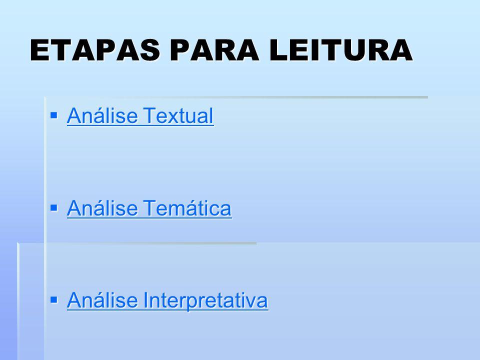 ETAPAS PARA LEITURA  Análise Textual Análise Textual Análise Textual  Análise Temática Análise Temática Análise Temática  Análise Interpretativa An