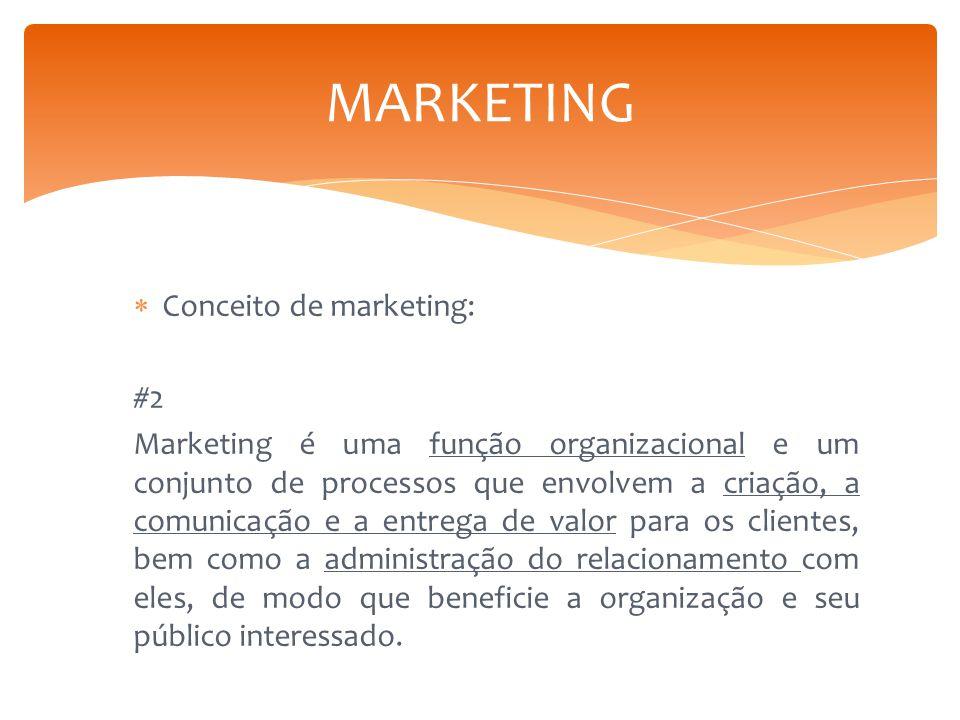  Conceito de marketing: #2 Marketing é uma função organizacional e um conjunto de processos que envolvem a criação, a comunicação e a entrega de valo
