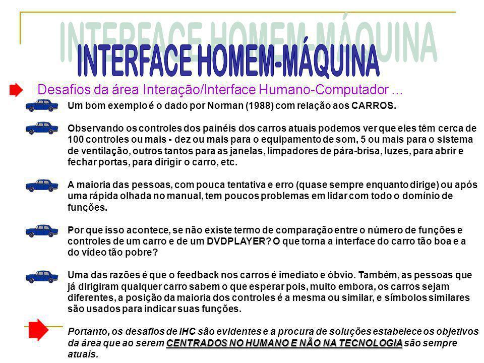 Desafios da área Interação/Interface Humano-Computador... Um bom exemplo é o dado por Norman (1988) com relação aos CARROS. Observando os controles do