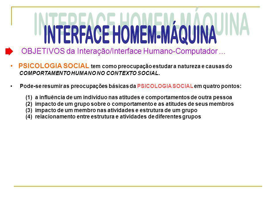 OBJETIVOS da Interação/Interface Humano-Computador... • PSICOLOGIA SOCIAL tem como preocupação estudar a natureza e causas do COMPORTAMENTO HUMANO NO