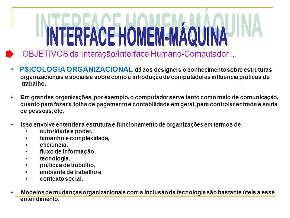OBJETIVOS da Interação/Interface Humano-Computador... • PSICOLOGIA ORGANIZACIONAL dá aos designers o conhecimento sobre estruturas organizacionais e s