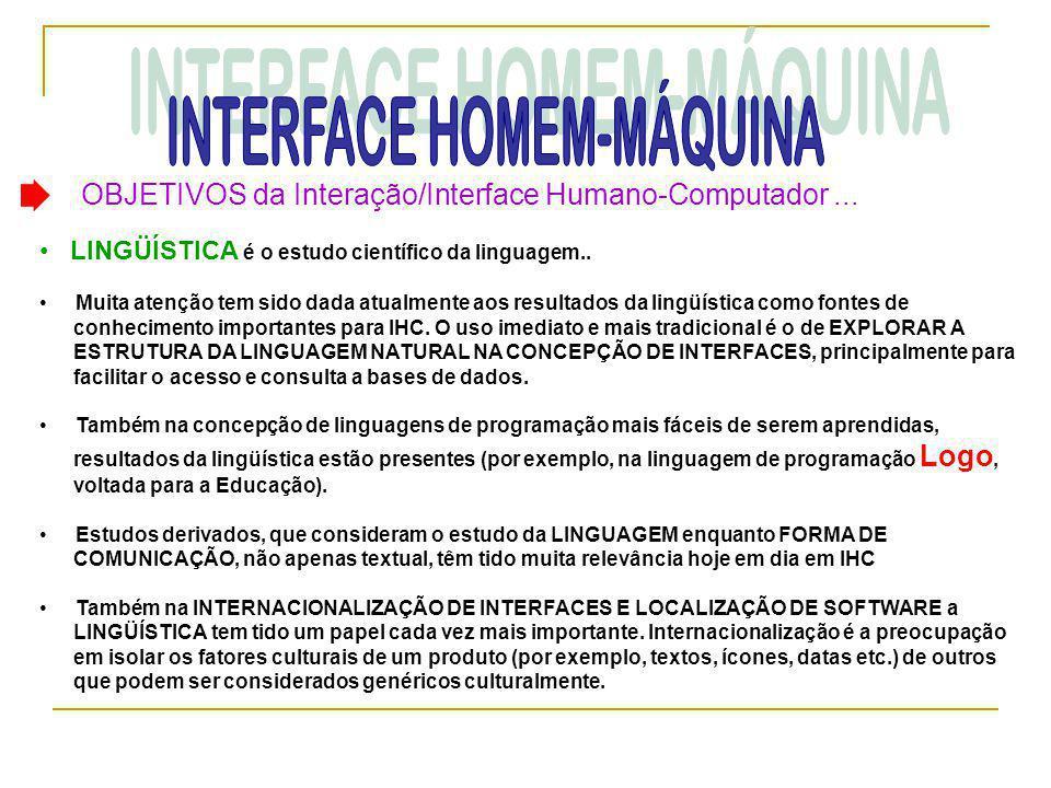 OBJETIVOS da Interação/Interface Humano-Computador... • LINGÜÍSTICA é o estudo científico da linguagem.. • Muita atenção tem sido dada atualmente aos